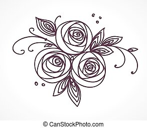 Flower bouquet. Stylized roses hand drawing.