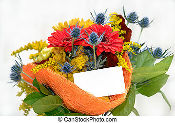 Flower bouquet with blank gift card