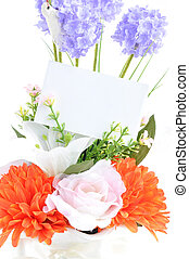 Flower bouquet with empty card