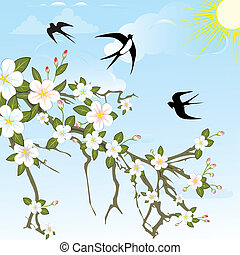 Flower branch with birds.