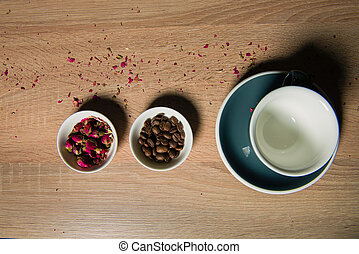 Rose raf coffee ingredients on table - Flower buds and...