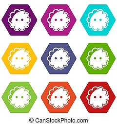 Flower button icons set 9