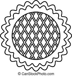 Flower cake icon, outline style