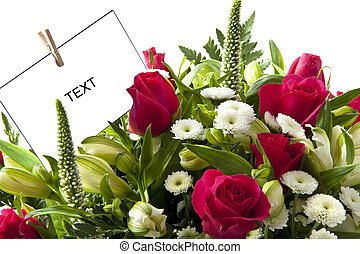 Flower card - Beautiful bouquet with pink roses and card for...