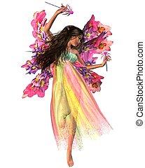 Flower Carnival Fairy - Dark-haired dancing fairy in shiny...