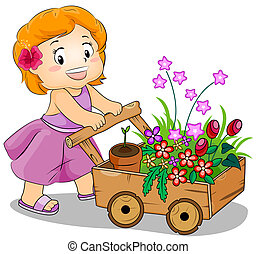 Flower Cart - Illustration Featuring a Young Girl Pushing a...