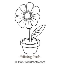 Flower cartoon coloring book vector illustration