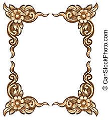 flower carved frame - Pattern of wood frame carve flower on...