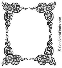 flower carved frame - Pattern of wood frame carve flower on ...