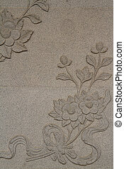 flower carved on the wall