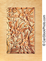 flower carved on wood