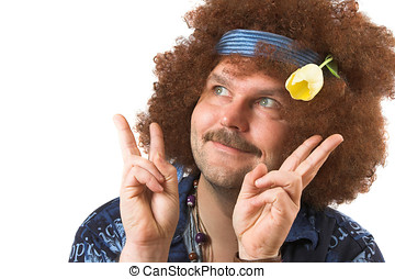 Flower child - A slightly too old hippie making the peace...