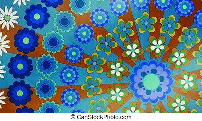 Retro looping twenty second or six hundred frame animated flower background