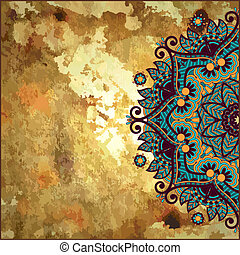 flower circle design on gold grunge background with lace ornament