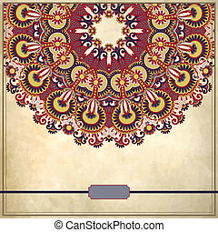 flower circle design on grunge background with lace ornament