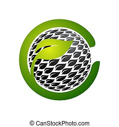 Flower circle shape abstract Logo design vector template. Green Eco Natural Luxury Logotype icon