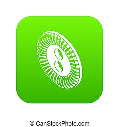 Flower clothes button icon green