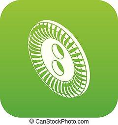 Flower clothes button icon green vector