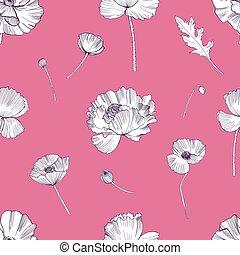 flower., coloré, modèle, seamless, main, arrière-plan., coquelicots, dessiné