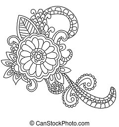 Flower coloring vector for adults