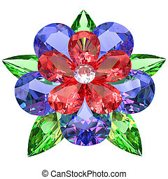 Flower composed of colored gemstones isolated on white...