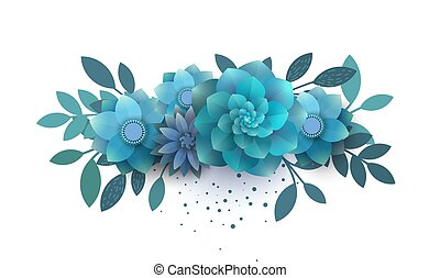 Flower composition of paper blue flowers.