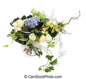Flower composition of white roses, ivy and orchids, isolated image on a white background. Bouquet of decorative Flowers. Floral arrangement