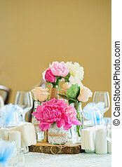 Flower composition with peonies
