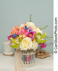 Flower composition with roses