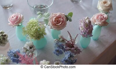 Flower compositions at the wedding