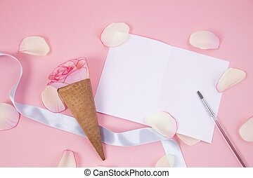 Flower cone on pink background.