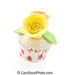 flower cup cakes isolated on white background