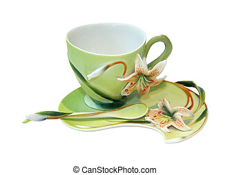 Colorful floral cup isolated with clipping path included