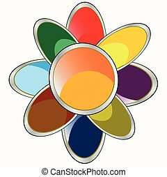 Flower daisywheel varicoloured - Icon of the flower ...