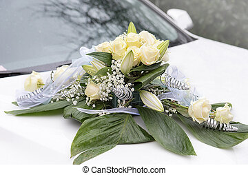 Flower decoration on the wedding car