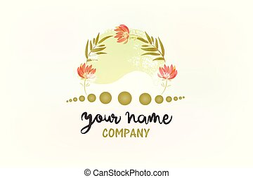 Flower decoration watercolor logo