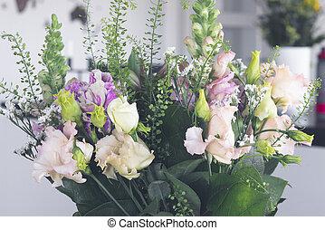 Flower decoration with a bouquet