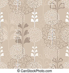Floral decorative seamless vector background with flowers and leaves