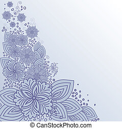 Flower design - asymmetric gray background with a hand-drawn...