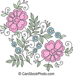 Flower design element. Stylized floral ornament.