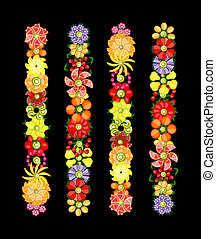 Flower design set made from fruits