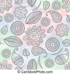 Flower doodles watercolor seamless pattern