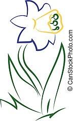Flower drawing, illustration, vector on white background.