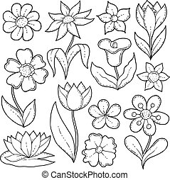Flower drawings thematic set 1