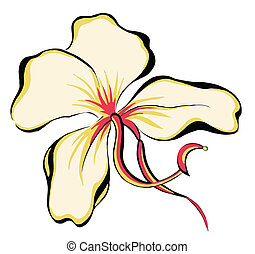 flower - illustrations drawing of flower isolate in white...