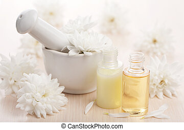 flower essential oil and mortar
