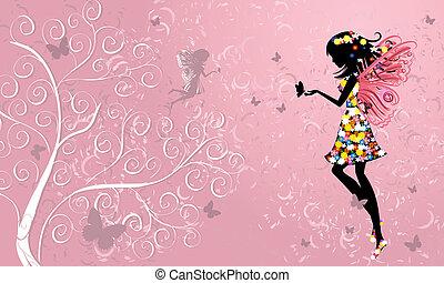 Flower Fairy near patterned wood
