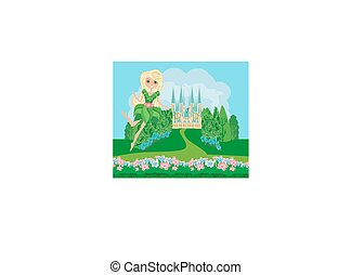 Flower Fairy on castle landscape