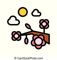 Flower festival vector, Chinese lunar new year filled icon