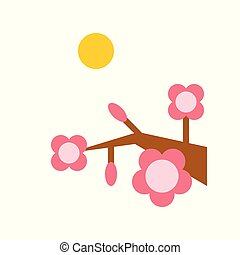 Flower festival vector, Chinese lunar new year flat style icon